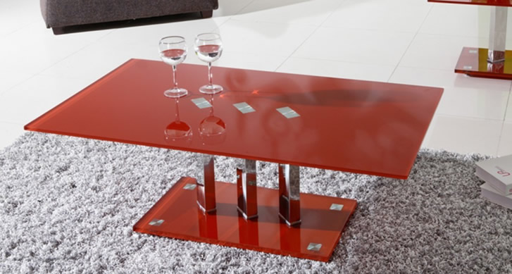 Arctic Red Glass Coffee Table